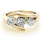 Round Cut 1.50 Ct Real Diamond Engagement Rings 14k Solid Yellow Gold Size 6 7 8