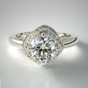 0.80 Ct Round Real Cut Diamond Engagement Ring 14k Solid White Gold Size 6 7 8 9