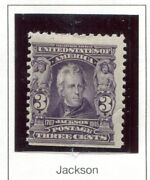 Us Scott 302 3 Cent Jackson Series Of 1902-03 Mint Hinged. Small Crease..