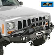 Eag Front Bumper With Led Lights And Winch Plate Fit 84-01 Jeep Cherokee Xj