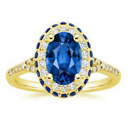 14k Yellow Gold Diamond Blue Sapphire Engagement Ring Oval 3.60 Ct Size 5 6 7 8