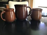 Antique Western Stoneware Pottery Pitchers-beehive Ribbed Pattern, Albany Slip