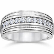 0.50 Ct Natural Diamond Wedding Mens Bands Solid 14k White Gold Size 9.5 10 11.5
