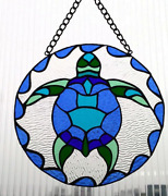 Stained Glass Sea Turtle, Sunscreen, 9 Inch Diameter.