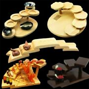Sushi Tray Rack Kawaii Snacks Food Step Wooden Stand Boat Container Sashimi Mat