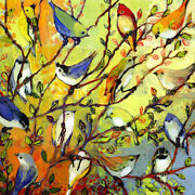 Canvas Tree Birds By Jennifer Lommers 12x12 Graphic Art Painting Decorative