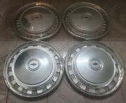 Set Of 4 Vintage 1976-80 Chevy Chevette Scooter Dog Dish Hubcaps And 4 Trim Rings