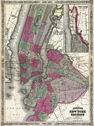 Canvas 1866 Map Of Nyc And Brooklyn 16x12 Gallery Wrap Vintage Maps New York