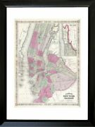 Framed 1866 Map Of Nyc And Brooklyn 20x16 Art Print Vintage New York City