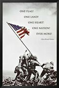 Framed Raising The American Flag At Iwo Jima With Quote 36x24 Poster Ww 2