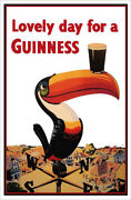 Canvas Guinness Beer Lovely Day Toucan On Weather-vane 36x24 Gallery Wrap Print