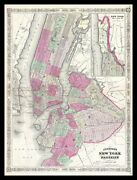 Framed 1866 Map Of Nyc And Brooklyn 16x12 Art Print Poster Vintage New York City