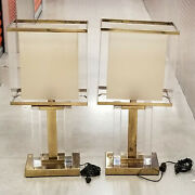 Pair Of Modernist 1970and039s Pierre Cardin Style Brass And Lucite Shade Table Lamp