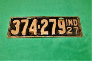 🔥vintage 1927 Indiana License Plate Rear Number 374-279 Chevy Ford Dodge