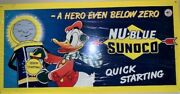 Quick Starting Sunoco Sign With Donald Duck-awesome Graphics And Color. Rare