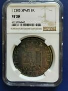 1730-s Spain 8 Reales Silver Coin Philip V Ngc Vf-30