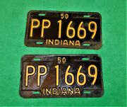 🔥vintage 1950 Indiana License Plate Front Rear Number Pp-1669 Chevy Ford Dodge