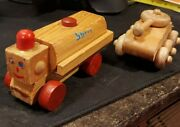 Vtg Lot Antique Toy Shell Oil Gas Tanker Truck And Tank Wood Handmde Handcrafted