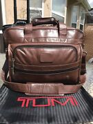 Rare Tumi Alpha Brown Genuine Napa Leather Carry-on Duffel Bag Boarding Tote Gym