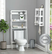 White Over The Toilet Storage Bathroom 3 Shelves Organizer Wood Open Space Saver