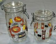 Set Of 3 Glass Wire Bale Jar Canisters Arc Made In France Old Homestead Kitchen