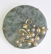 Vintage Mingand039s Rare Jadeite Disc Brooch Pin With Akoya Pearls And 14k Gold