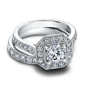 1.60 Ct Real Diamond Wedding Band Sets 14k Solid White Gold Women's Rings Size 7