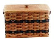 Bread Box, Amish Made With Solid Oak Hard Bottom Woven Leather Handles