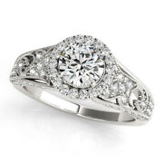 Real Diamond Womenand039s Engagement 950 Platinum Ring Round Cut 1.10 Ct Size 5 6 7
