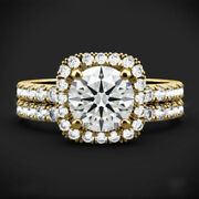 1.50 Ct Round Cut Real Diamond 14k Solid Yellow Gold Engagement Band Set Size 6