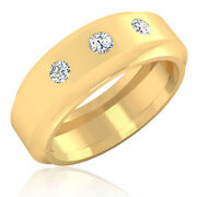 0.27 Ct Si1 Natural Diamond Mens Engagement Rings 14k Yellow Gold Band All Size