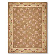 9and039 X 12and039 Asmara Hand Woven Wool French Aubusson Needlepoint Area Rug 9x12 Brown