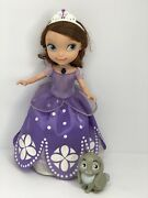 """Disney Sofia The First Talking Doll 2012 Lights Sounds 10"""" And Rabbit Pet"""