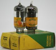 12ax7 Tube Matched Pair Ecc83 Marconi Italy Preamp Tubes Long Plate D Getter 50s