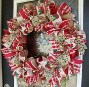 Old Fashioned Country Truck Christmas Deco Mesh Front Door Wreath Decoration