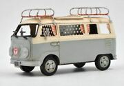 Vw Circa 1966 Tin Model 1.18 Scale Camper Van,with Pen Holder Surf Board Figurin