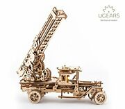 Ugears Wooden 3d Fire Truck Model Kit - Lever Operated Rotatable Retractable ...