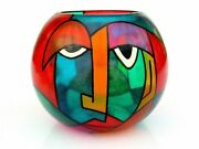 Signed By The Artist Celebration To Picasso Art Glass Faces Vase Multi Coloured
