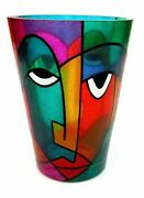Signed By The Artist Tribute To Picasso Art Glass Faces Vase Multi Coloured
