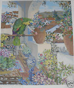 John Powell Parrot And Roofs Hc 2/20 A Rare And Very Collectible Silkscreen Hot