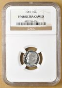 1961 Proof Roosevelt Silver Dime Ngc Pf 68 Ultra Cameo