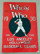 1930 Pcl Pacific Coast League Hollywood Stars And L.a. Angels Yearbook Media Guide