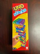 New Ver Mattel Uno Stacko Complete Ultimate Stacking Game 45 Blocks 2-10 Players
