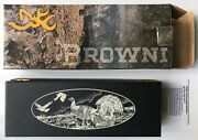New Browning Special Edition Nwtf Knife And Box Scrimshaw Fixed Blade Trapper