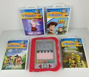 Vtech Vreader Animated Learning System Red Handheld Game 4 Games 3-7 Years