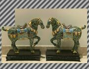 Monumental Pair Of Chinese Cloisonne And Bronze Horses Sculptures On Wood Stands