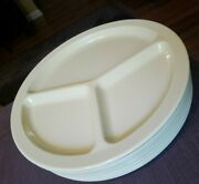Yellow Plastic Melamine Melmac Divided Plates Set Of 8 King-line 106 10 Inch