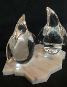 New In Box And Base Glass Steuben Penguins Baby Crystal Arctic Animal Ornamental