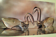 New In Box Steuben Large Swan Pair On Base Crystal Glass Heart Gift Ornamental