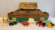 Rare Noahand039s Ark With Animals 2620 Holgate Toys Circa 1948 Wonderful Pull Toy